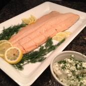 Salmon and mustard dill cream...