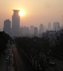 Smoggy Shanghai sunset