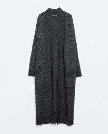 long grey coat zara