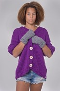purple sweater and gloves