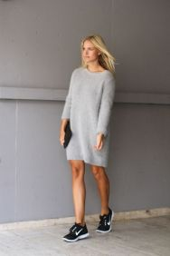 sneakers and sweater dress