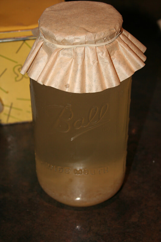 Homemade water kefir in a half gallon mason jar with a coffee filter lid.
