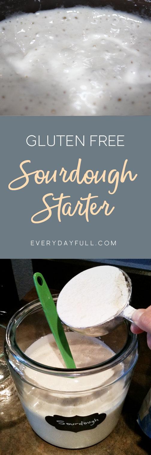 Gluten Free sourdough pinterest pin, feeding the sourdough and the sourdough all bubbly