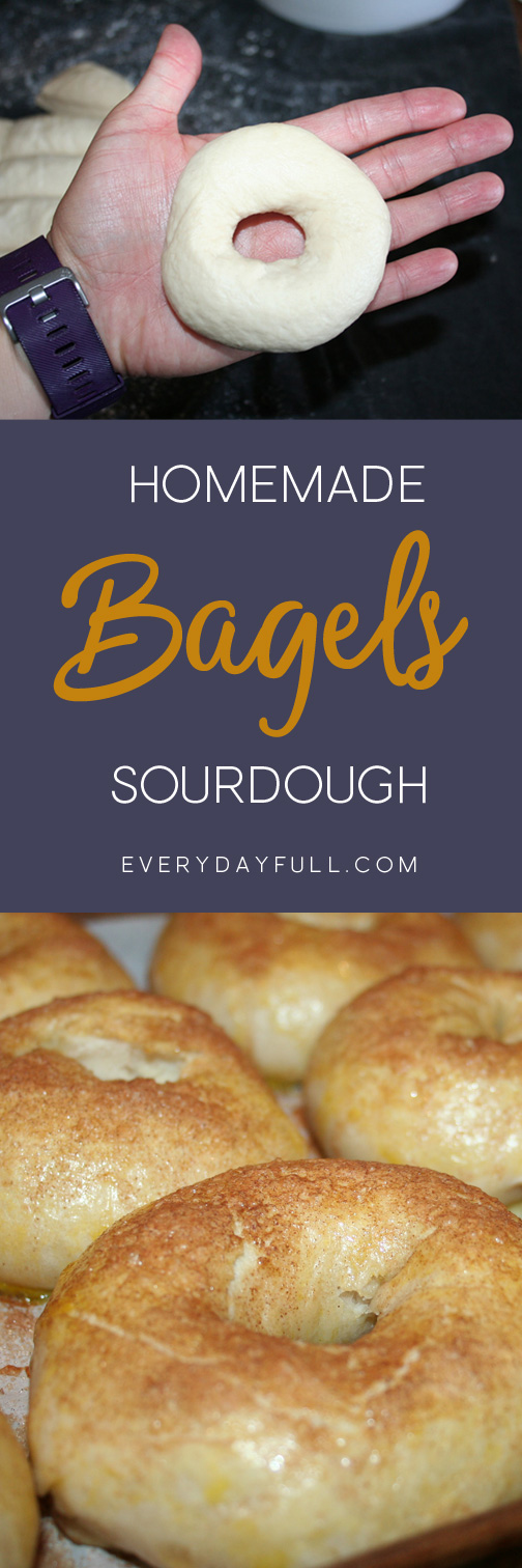 HOMEMADE SOURDOUGH BAGELS - Time to feed your starter and learn how to make this easy, homemade sourdough bagel recipe. Use your King Arthur flour and enjoy these bagels spread with your favorite cream cheeses! We might even like them better than our sourdough english muffins! #sourdough #bagel #bagels #recipe #easy