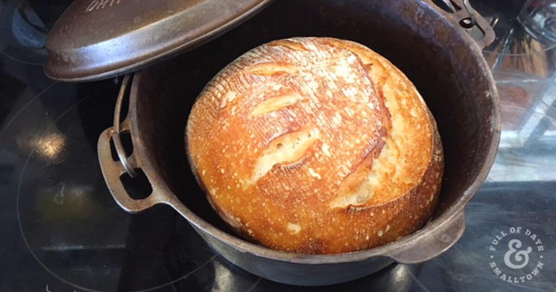 Homemade Artisan Sourdough Boule in a Cast Iron Dutch Oven