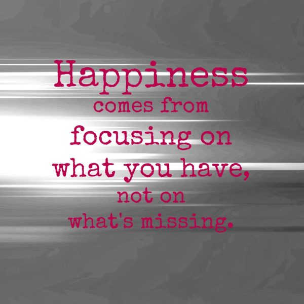 happiness is focusing on what you have