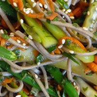 Mint & Scallion Soba Noodle Salad w/ Cucumber, Carrot & Green Bean Threads