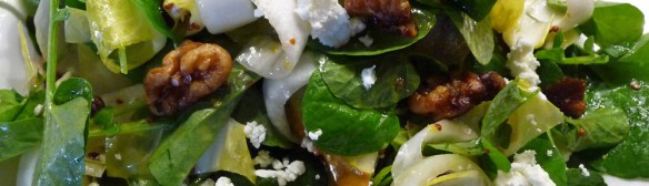 Watercress, Endive, Pear Glazed Walnut Salad w/ Shallot Mustard Vinaigrette