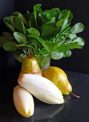 Watercress, Belgian Endive & Pear Salad with Goat Cheese, Shallot-Mustard Vinaigrette & Maple-Glazed Walnuts
