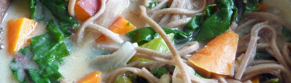 Creamy Miso Soup w/ Vegetables, Greens & Soba Noodles (c) jfhaugen