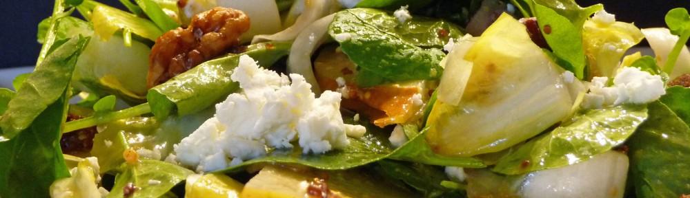 Watercress Endive Pear Glazed Walnut Salad (c) jfhaugen