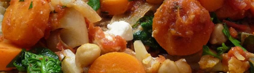 Greek Cauliflower, Chickpea Stew w Spinach, Kalamatas, Feta (c) jfhaugen