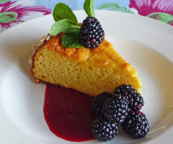 Orange Almond Cake w Raspberry Puree, Berries, Mint (c) jfhaugen