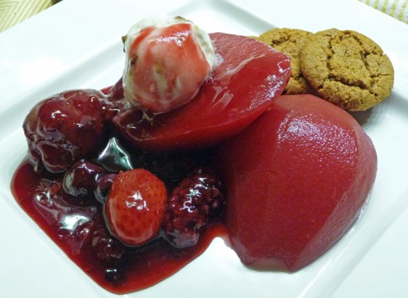Ruby Poached Pears with Berry Sauce