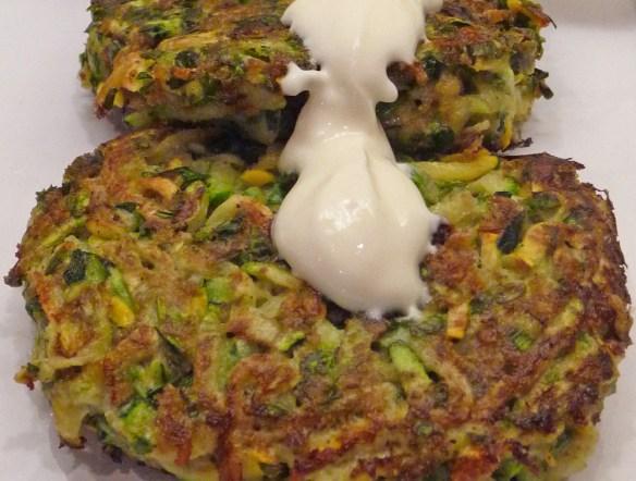Savory Zucchini Pancakes w/ Parsley, Basil,  Green Onions & Thyme (c) jfhaugen
