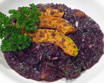 Black Rice Risotto w/ Arborio Rice, Leeks & Roasted Butternut Squash