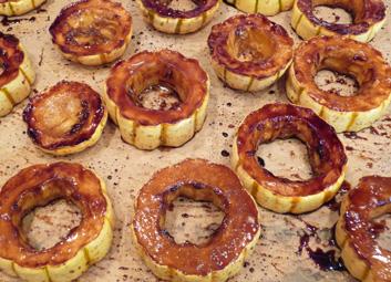 Delicata Squash w/ Maple Balsamic Pomegranate Glaze