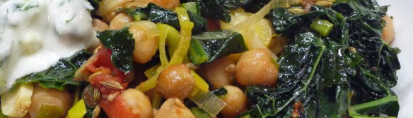 Roasted Garbanzos w/ Greens, Tomatoes & Garlic