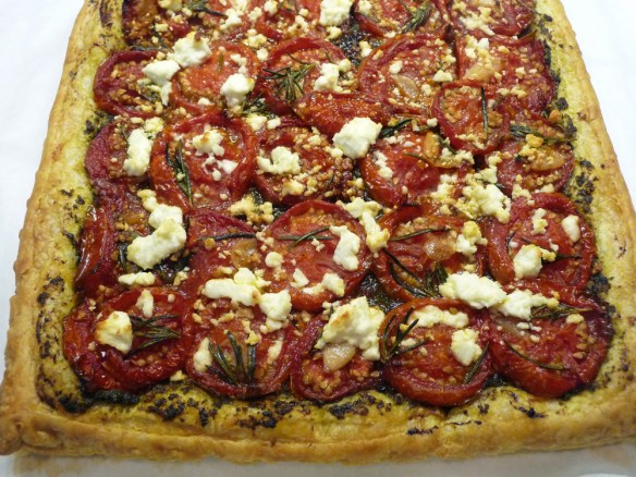 Roasted Tomato/Pesto Puff Pastry Tart