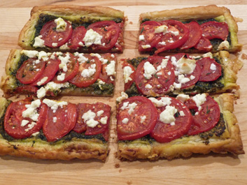 Roasted Tomato/Pesto Puff Pastry Tart