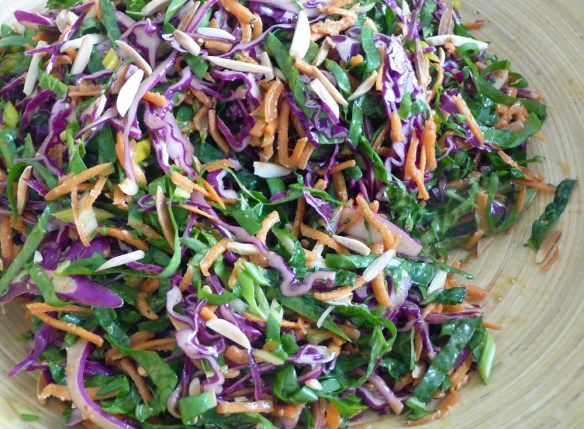 Tri-Color Slaw w/ Kale, Chard, Purple Cabbage & Carrots