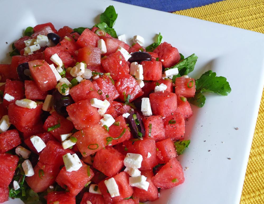 watermelon salad recipe w arugula feta greek olives. Black Bedroom Furniture Sets. Home Design Ideas