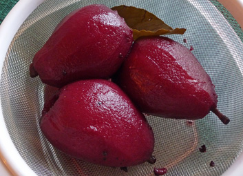 Poached Pears in Pomegranate Juice