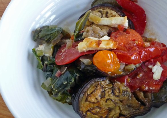 Summer Vegetable Gratin w/ Eggplant, Tomato, Chard & Pesto