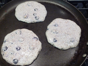 Blueberry Toasted Pecan Pancakes with Chunky Applesauce