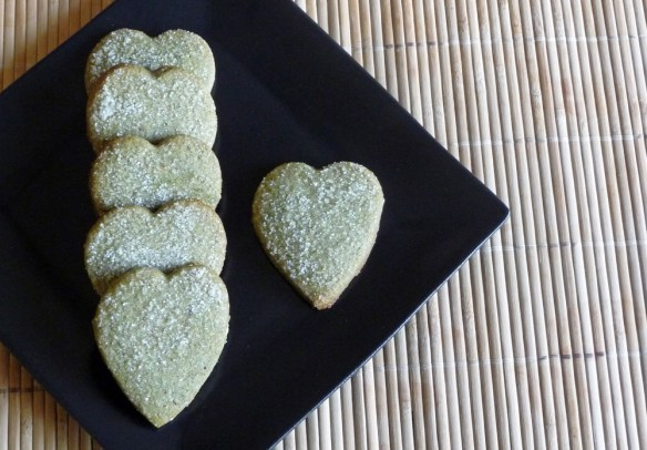 Matcha Almond Shortbread Hearts for Valentine's Day