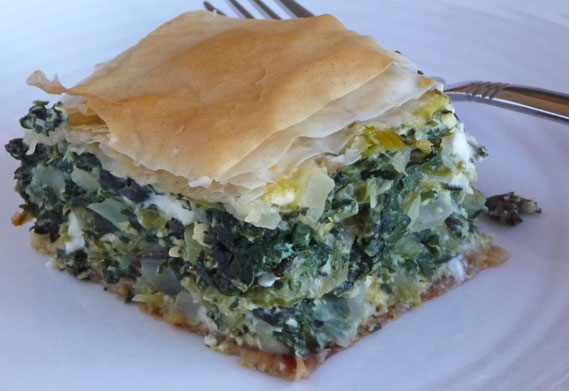 Phyllo Pie with Chard, Fresh Herbs, Feta