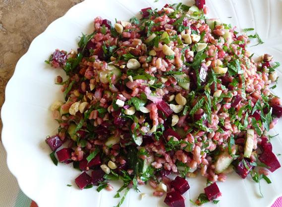 Farro Beet Salad with Fresh Herbs and Hazelnuts