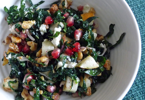 Kale Tabouli with Pear Walnut & Pomegranate