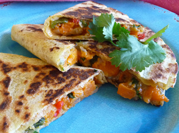 Cheese Quesadillas with Cilantro, Scallions and Two Cheeses