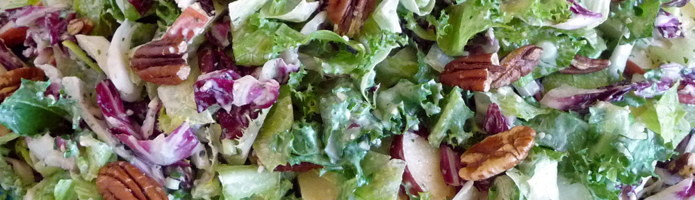 Fall Greens Pear Pecan Caesar Salad Begins with a Knockout Dressing