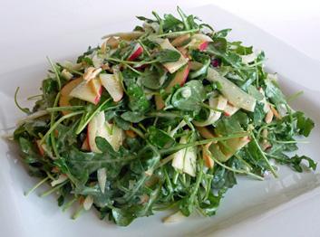 Arugula Watercress Fennel Apple Almond Salad with Apple Cider Vinaigrette – Light, Bright, Tangy, Crisp