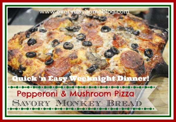 Pepperoni and Mushroom Pizza Monkey Bread by The Everyday Home