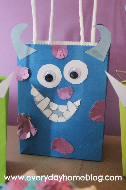 Monsters Inc Halloween Bags and Cupcakes at The Everyday Home