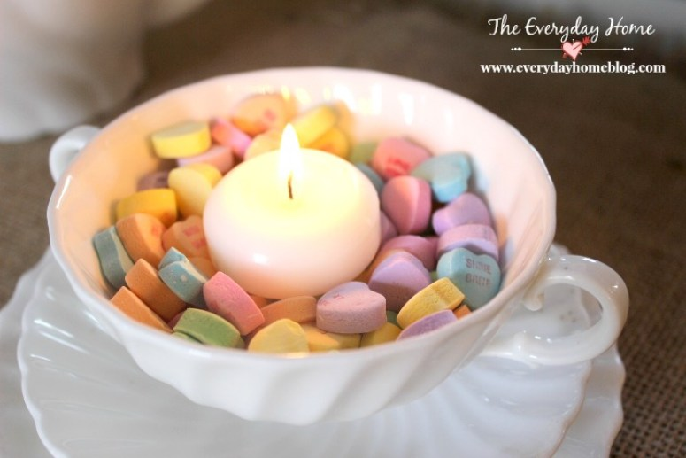 Sweetheart Candies and a Candle in a Vintage White Teacup | The Everyday Home | www.everydayhomeblog.com