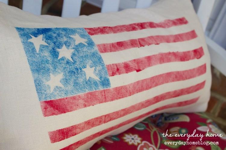 How to Make a Stenciled Flag Pillow by The Everyday Home   www.everydayhomeblog.com
