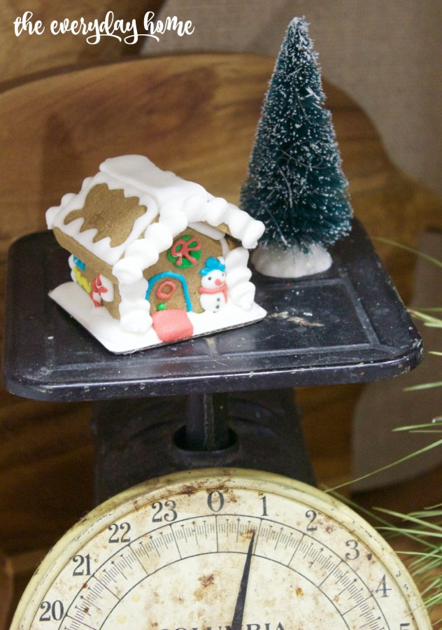 Mini Gingerbread House on Vintage Scale | 2015 Christmas Home Tour | The Everyday Home | www.everydayhomeblog.com