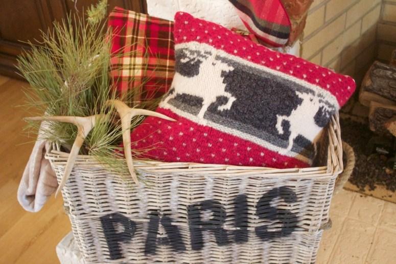Paris Basket with Sweater Pillow   2015 Christmas Dining Room Tour   The Everyday Home   www.everydayhomeblog.com