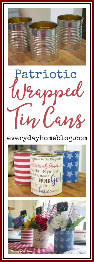 Patriotic Wrapped Tin Cans | The Everyday Home