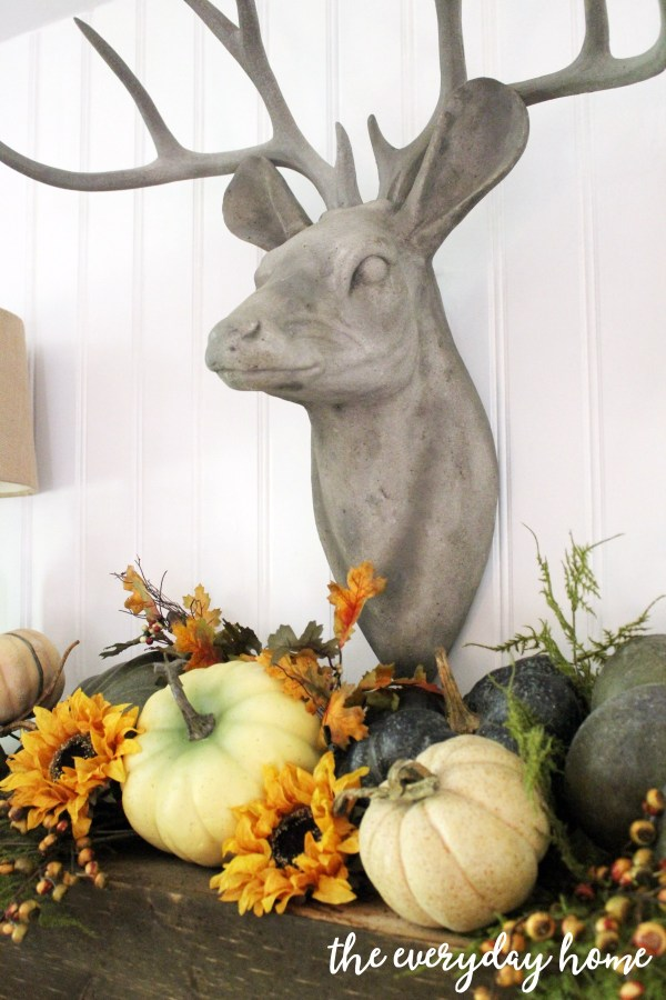 deer-and-pumpkins-on-rustic-fall-mantel | The Everyday Home | www.everydayhomeblog.com