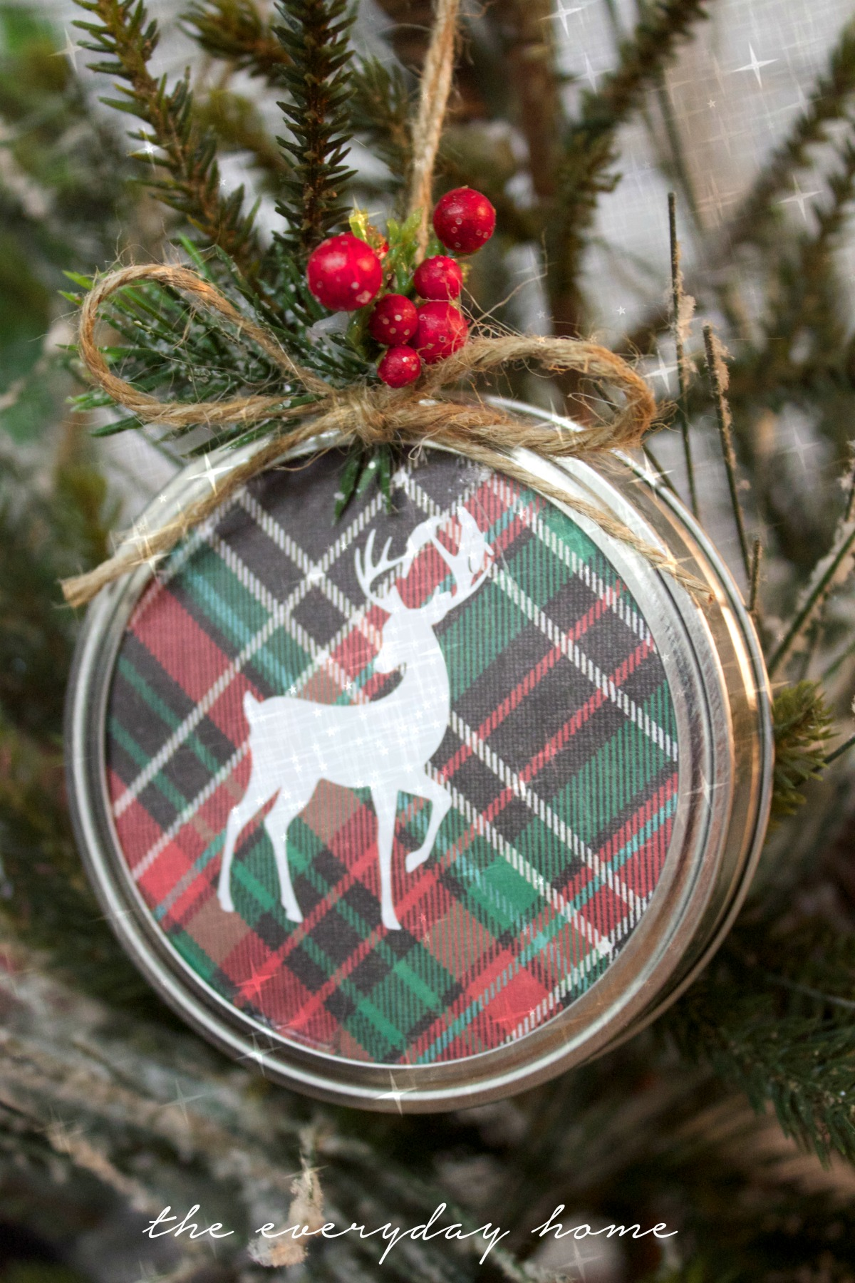 Diy Mason Jar Lid Christmas Ornament The
