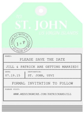 Luggage Tag Save the Date - Destination Wedding