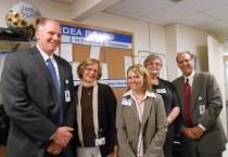 HealthAlliance Patient Registration Idea Board. (L to R) Dr. Dickson, Judith Ludvigson, Allyson St. Amand, Christine Larson, Doug Brown