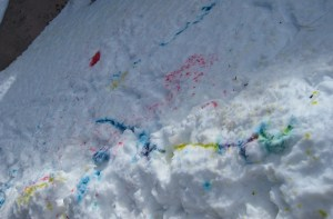 Making Snow Mandalas, AKA Snow Painting