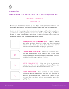 Everyday Interview Tips 2018 Edition - Get Ready for Your Job Interview in 7 Days - Practice answering interview questions