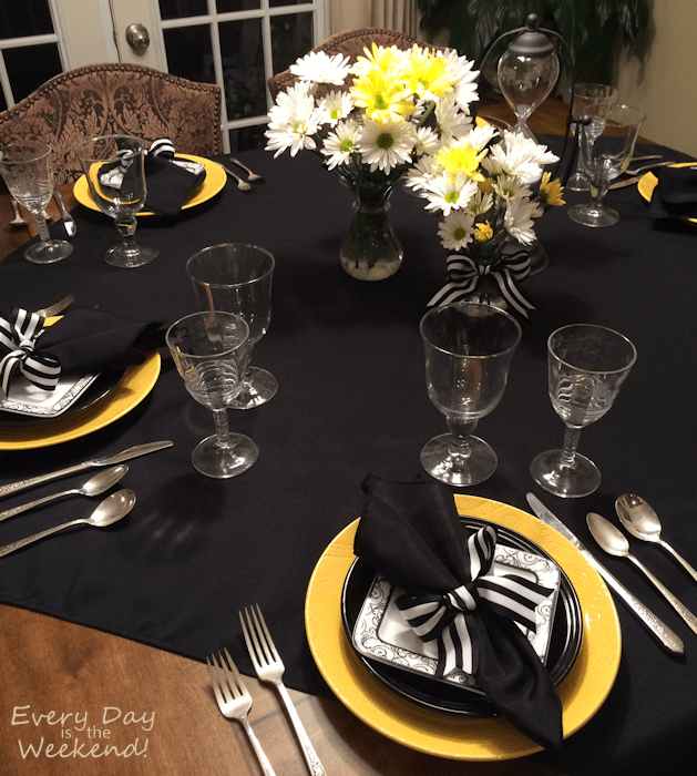 yellow, black, and white tablescape l Every Day is the Weekend!